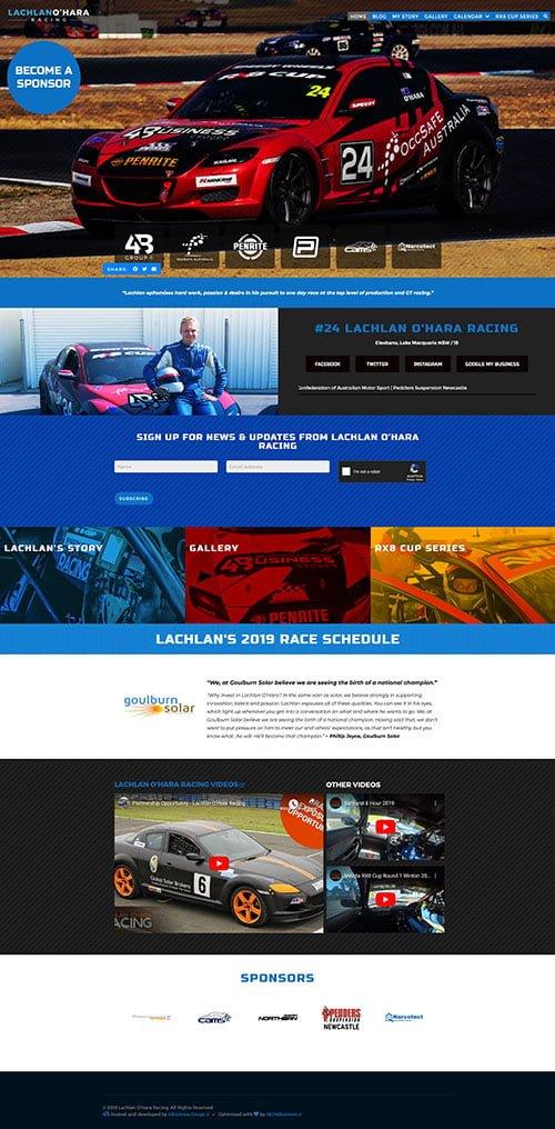Lachlan O'Hara Racing: Desktop View