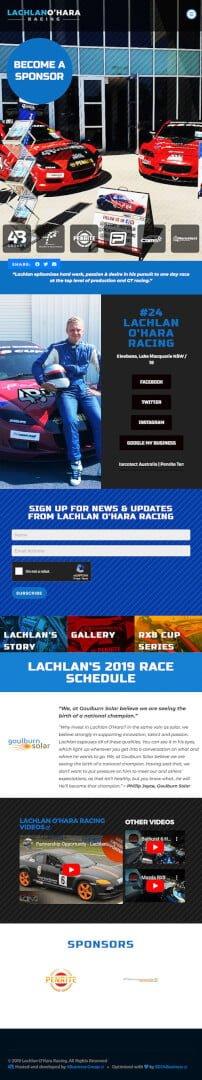 Lachlan O'Hara Racing: Tablet View