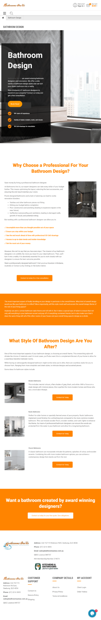 Bathrooms Are Us: Tablet View