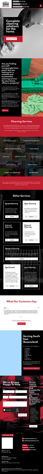 Black & White Home Services: Tablet View