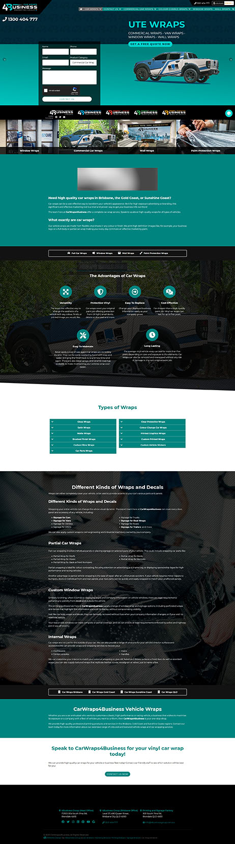 CarWraps4Business: Desktop View