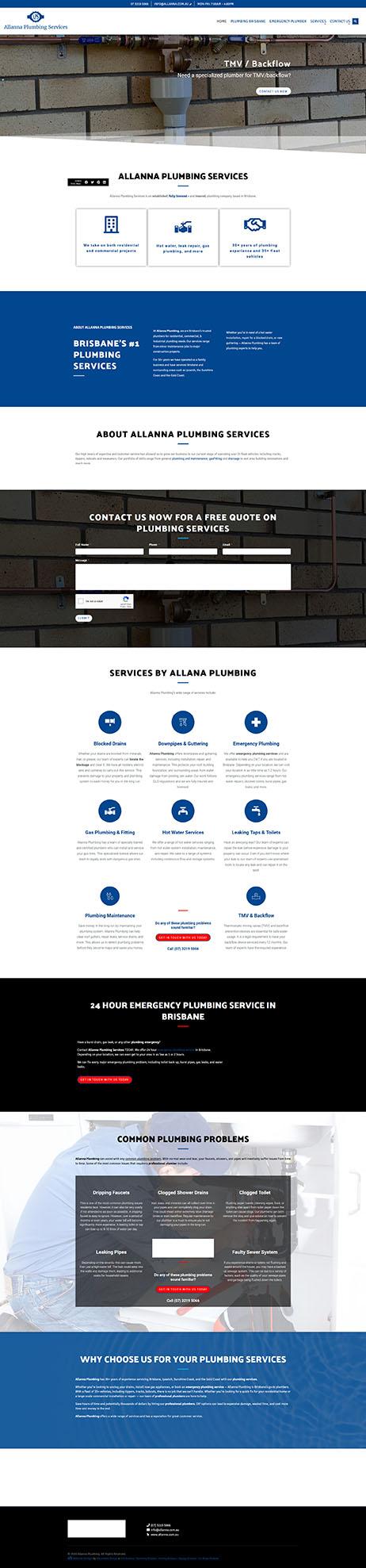 Allanna Plumbing: Desktop View