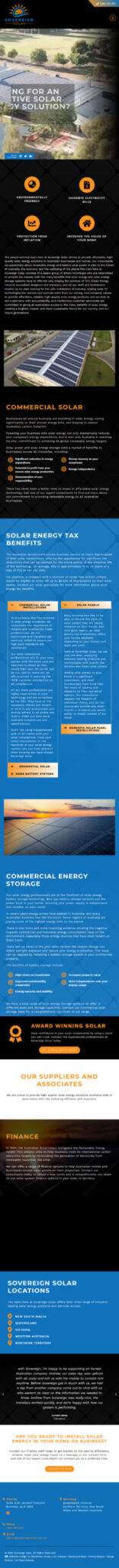 Sovereign Solar: Tablet View